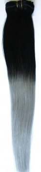 Clip-In-Extensions 50cm ombre schwarz-silbergrau